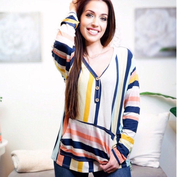ValMarie Tops - Long sleeve V-neck multi colored striped tunic top